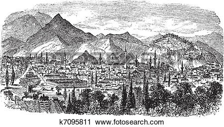 Clipart of Kütahya or Kotyaion or Cotyaeum city view, Western.