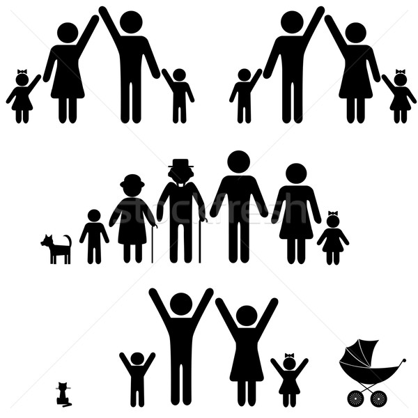 People silhouette family icon. vector illustration © Sweet Lana.
