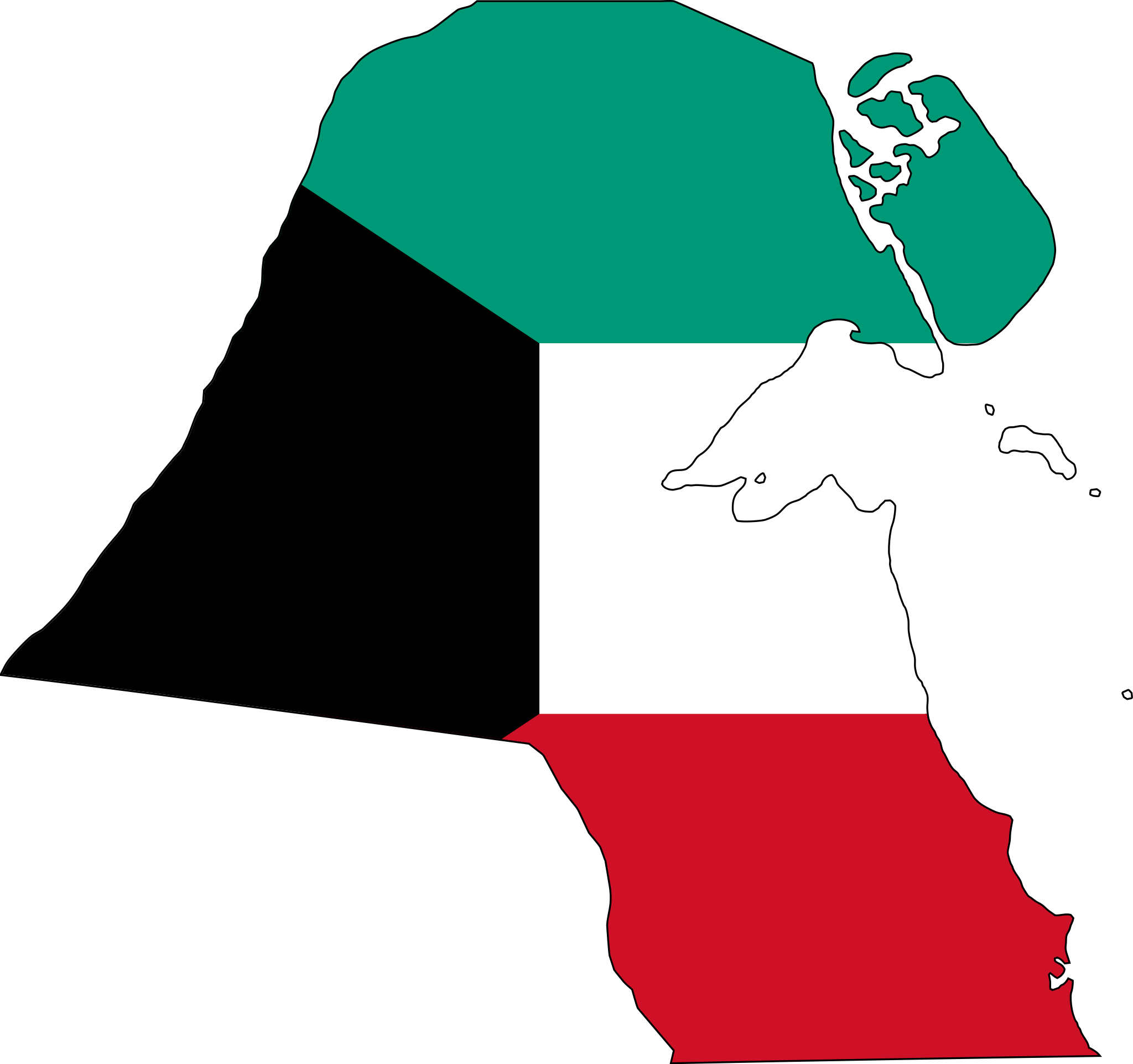 Kuwait Flag Map.
