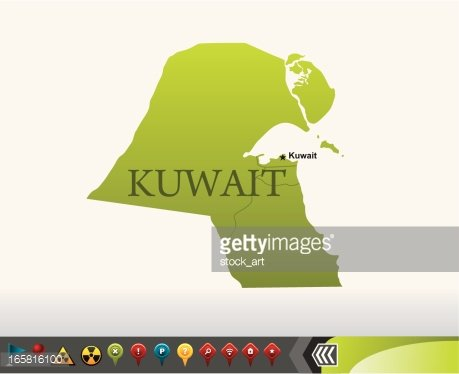 Kuwait map with navigation icons Clipart Image.