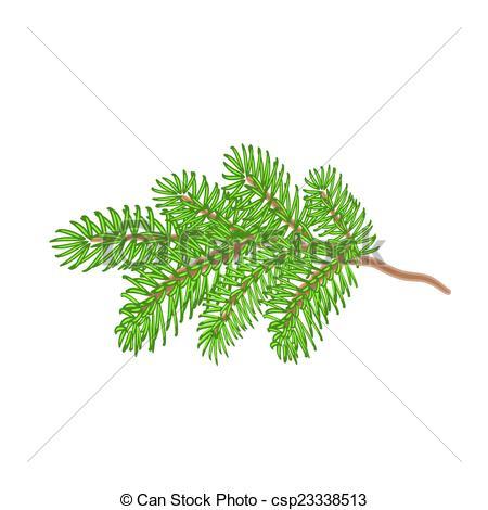 Vektor Clip Art av gran, kvist, träd, jul.