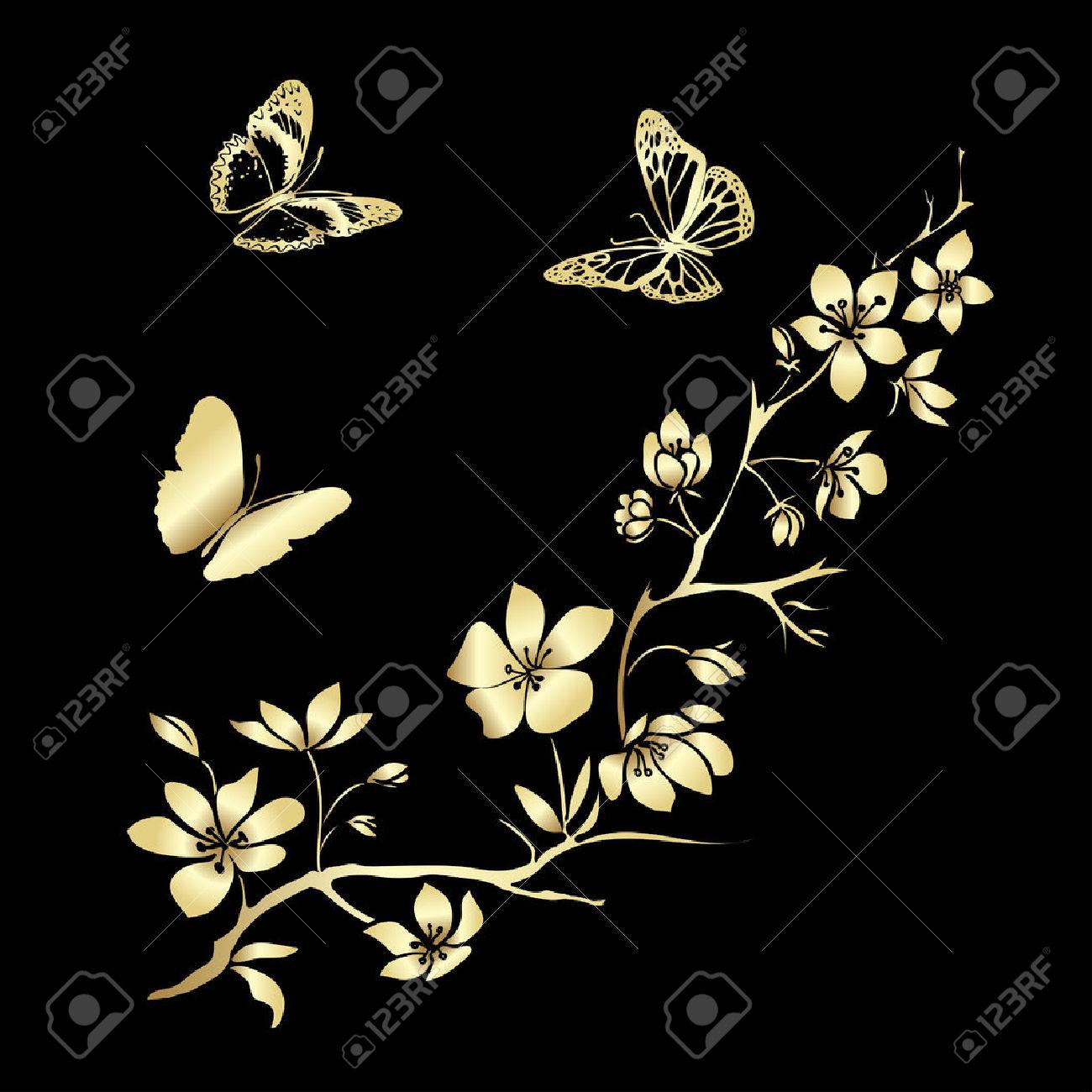 Guld Kvist Sakura Blommor Och Fjärilar. Vektor Illustration.