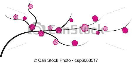 Vektorer Illustration av kvist, körsbär, Blomstrar.
