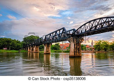 Stock Photography of Kanchanaburi (Thailand), The Bridge on the.