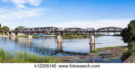 Stock Photography of Steel Bridge of the River Kwai in Thailand.