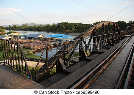 Stock Image of The Death Railway Bridge over Kwai river, was built.