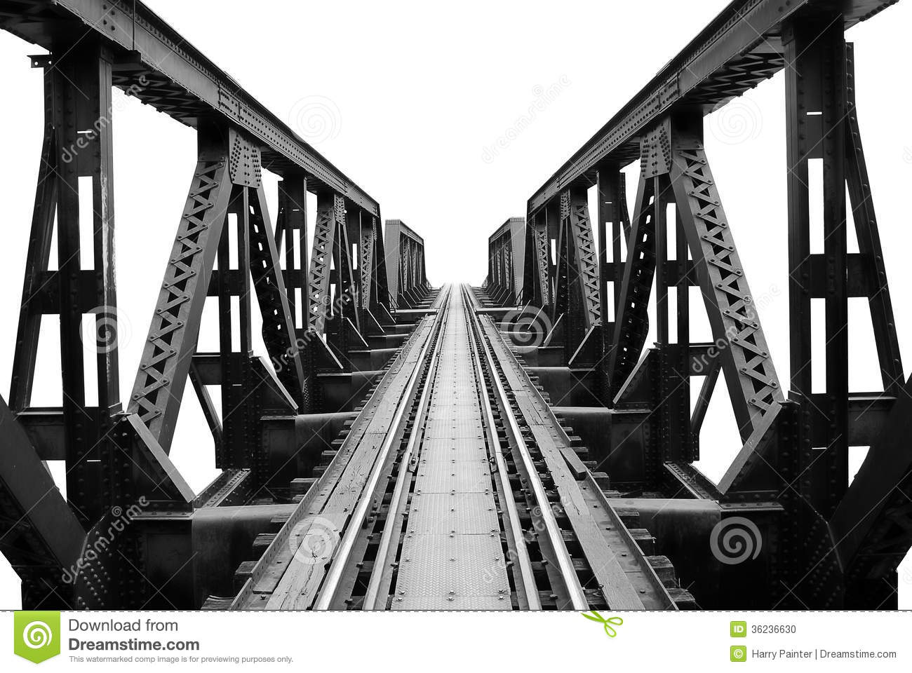 Black And White Bridge Over The River Kwai Stock Photo.