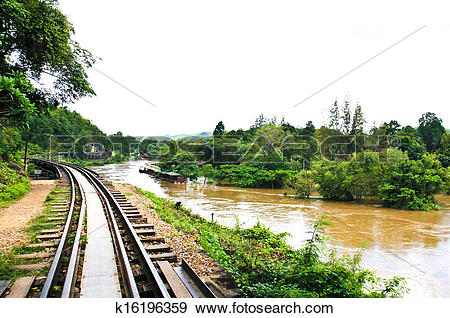 Stock Photograph of Dead railway beside cliff, along Kwai river in.