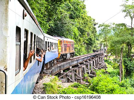 Stock Photography of Dead railway beside cliff, along Kwai river.