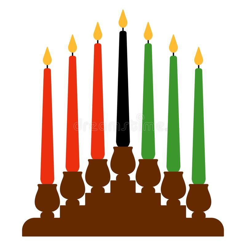 Kwanzaa Kinara. Candleholder called kinara and seven candles.