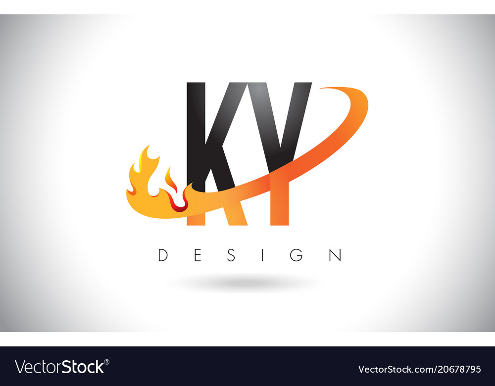 Ky k y letter logo with fire flames design and.