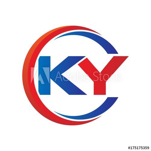 ky logo vector modern initial swoosh circle blue and red.
