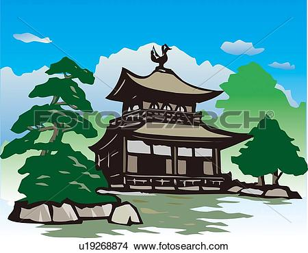 Drawings of Ginkaku Temple, Woodcut, Low Angle View, Kyoto, Japan.