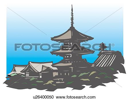 Stock Illustrations of Kiyomizu Temple, Woodcut, Kyoto, Japan.