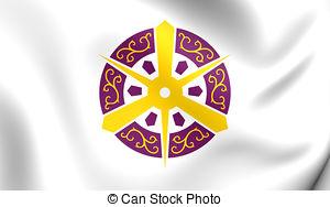 Clip Art of Waving Flag of Kyoto, Japan csp37332827.