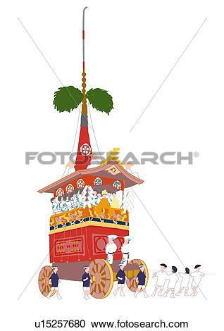 Stock Illustrations of Decorated floats of Gion Matsuri, low angle.