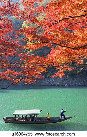Stock Image of Boat ride at Arashiyama, Kyoto Prefecture, Japan.