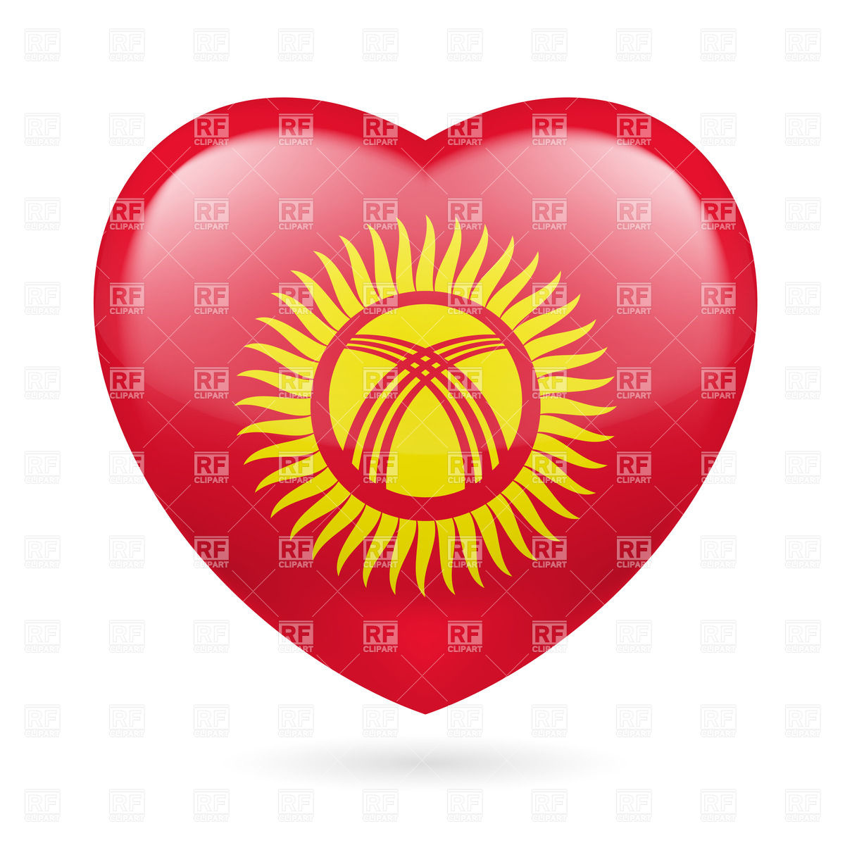 Heart with Kyrgyz flag colors. I love Kyrgyzstan Vector Image.