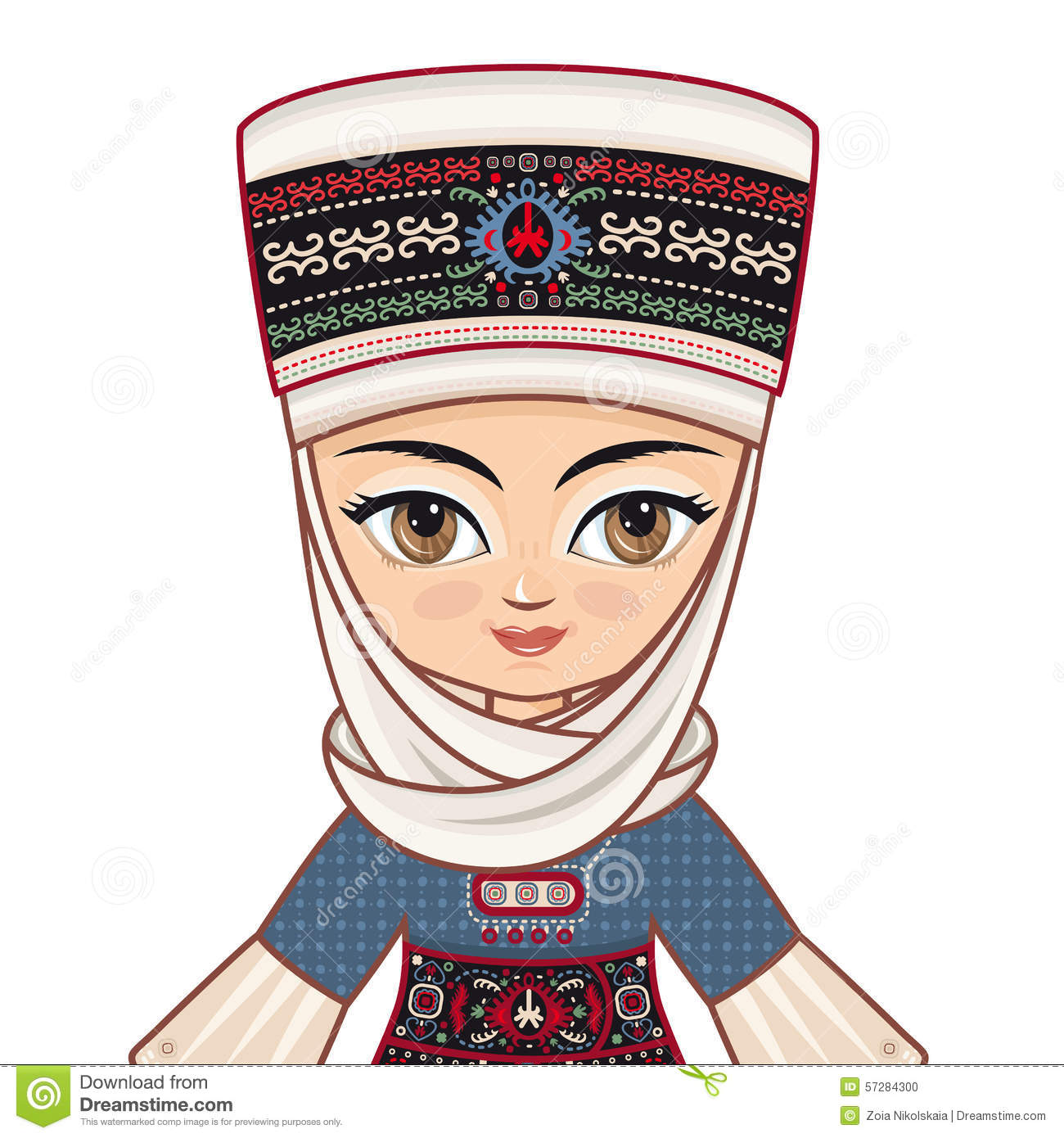 The Girl In Kyrgyz Dress. Avatar Stock Illustration.