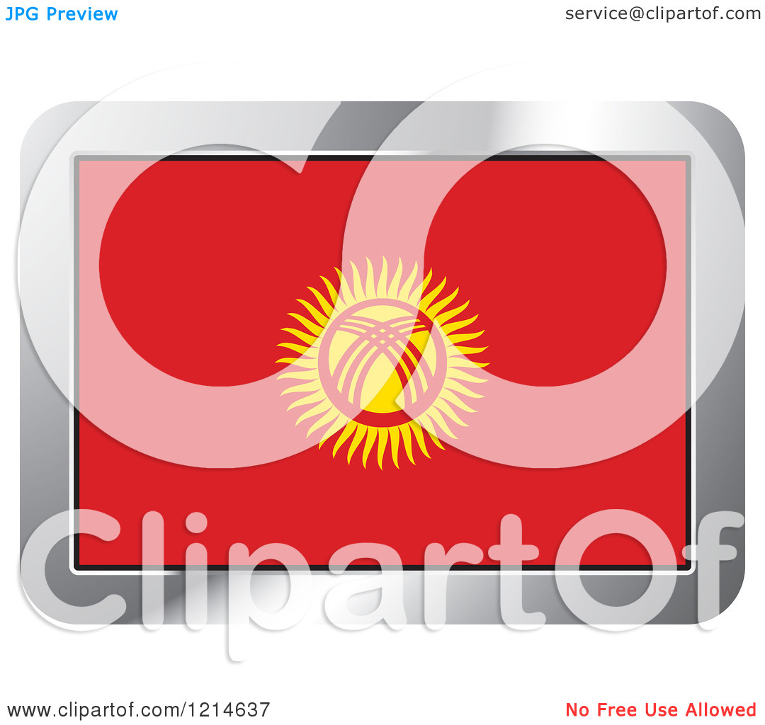 Clipart of a Kyrgyzstan Flag and Silver Frame Icon.