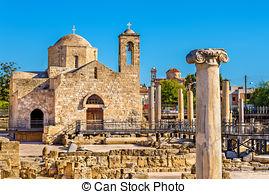 Stock Photo of Ayia Kyriaki Chrysopolitissa church in Paphos.