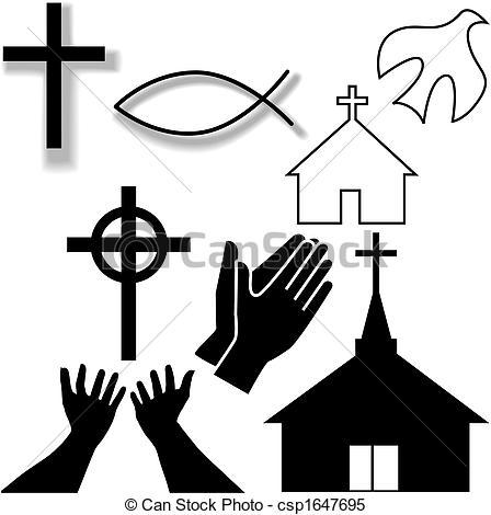 Clipart Vektor av sätta, Kristen, ikonen, Symbol, Annat, kyrka.