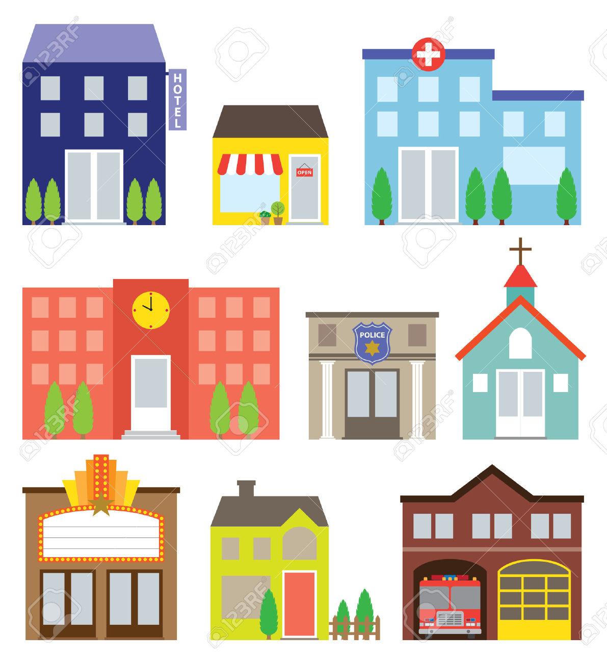 Illustration Av Byggnader Inklusive Butik, Hotell, Sjukhus, Skola.