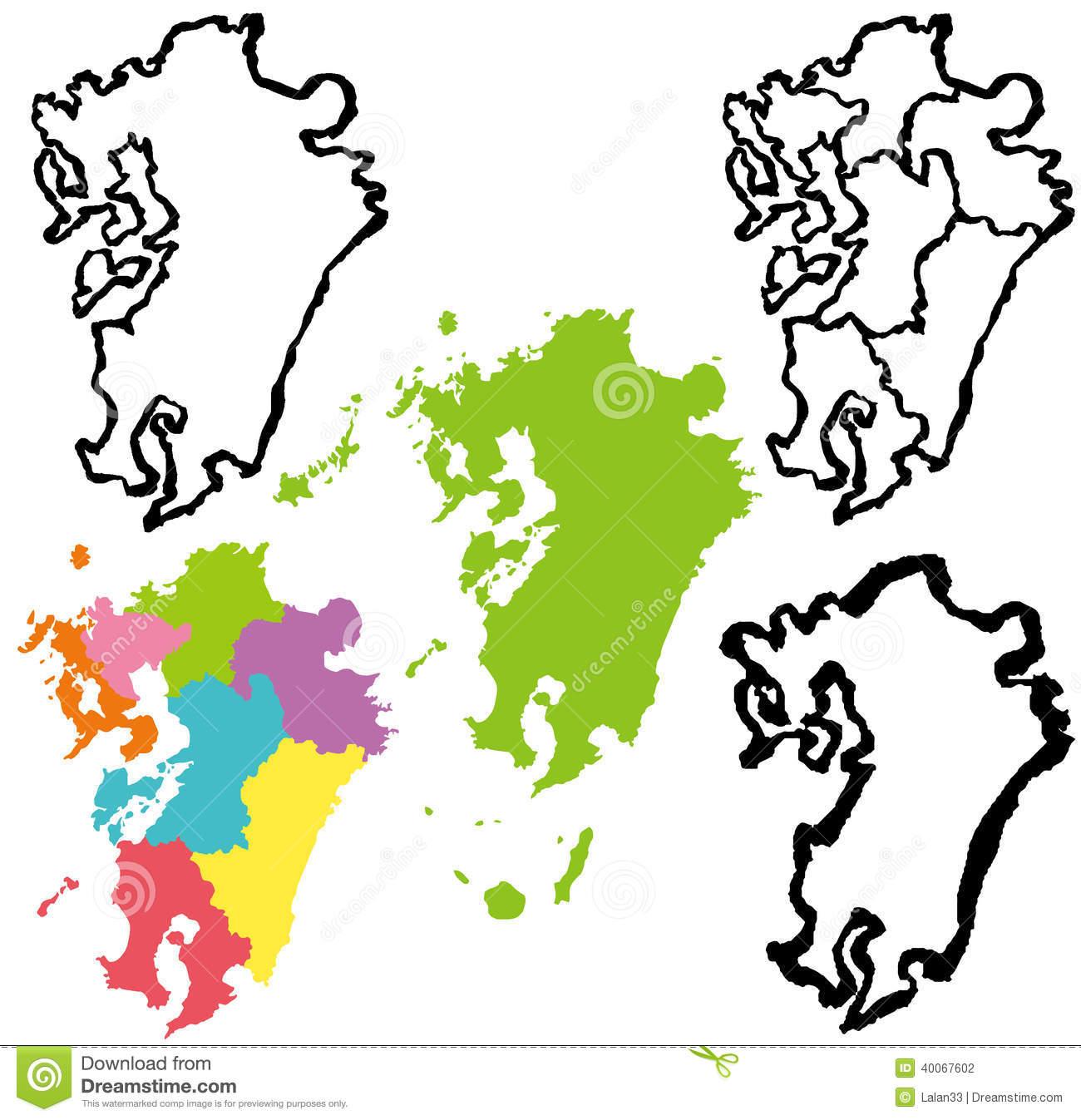 Kyushu Map. Stock Vector.