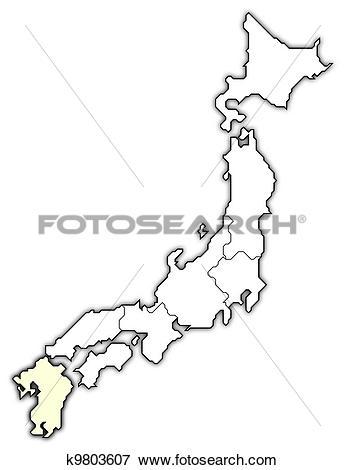 Stock Illustration of Map of Japan, Kyushu.