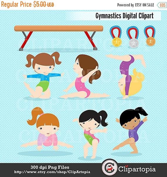 50% OFF SALE Gymnastics Clipart / Girls Gymnastics Cute.