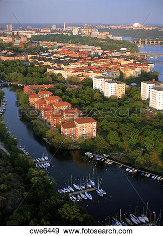 Stock Photograph of Aerial view of Reimersholme Island on.