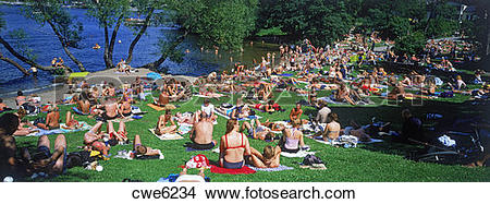 Stock Photo of Summer sunbathers at Langholmen Island in Stockholm.