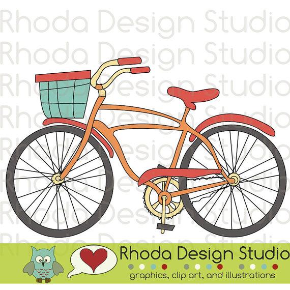 Retro Bikes Digital Clip Art Vintage Bicycles by RhodaDesignStudio.