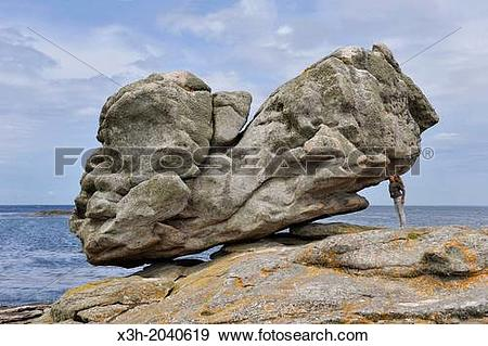 Stock Photograph of remarkable rocks on Ile de Sein, off the coast.
