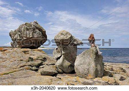 Stock Photography of remarkable rocks on Ile de Sein, off the.