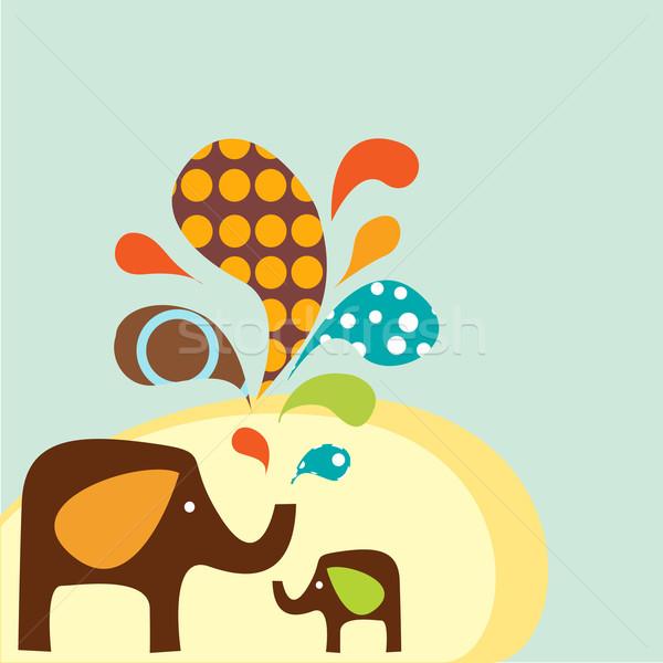 Cartoon Elephants vector illustration © Karola Kallai (kariiika.