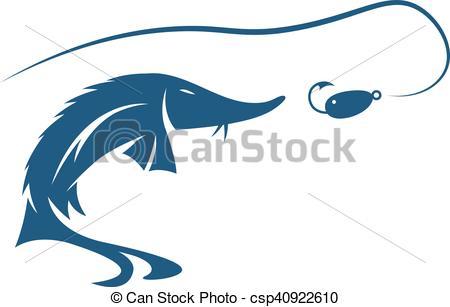 Vector Clip Art van lokken, visje, steur, Vector, Ontwerp, mal.