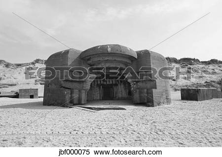 Stock Image of Denmark, Jutland, Lokken, Atlantic Wall bunker ruin.
