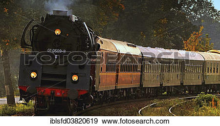 """Stock Photograph of """"Train with old carriages of the Deutsche."""