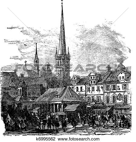 Clipart of Market Place of Lubeck Germany vintage engraving.
