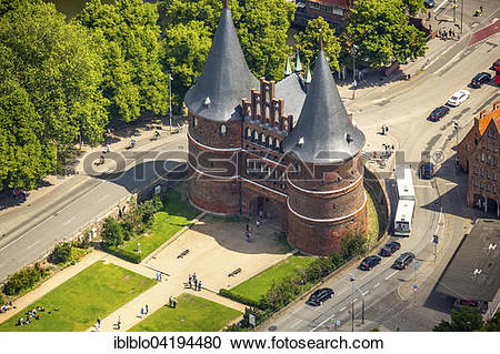 Stock Photography of Holsten Gate, late Gothic city gate, landmark.