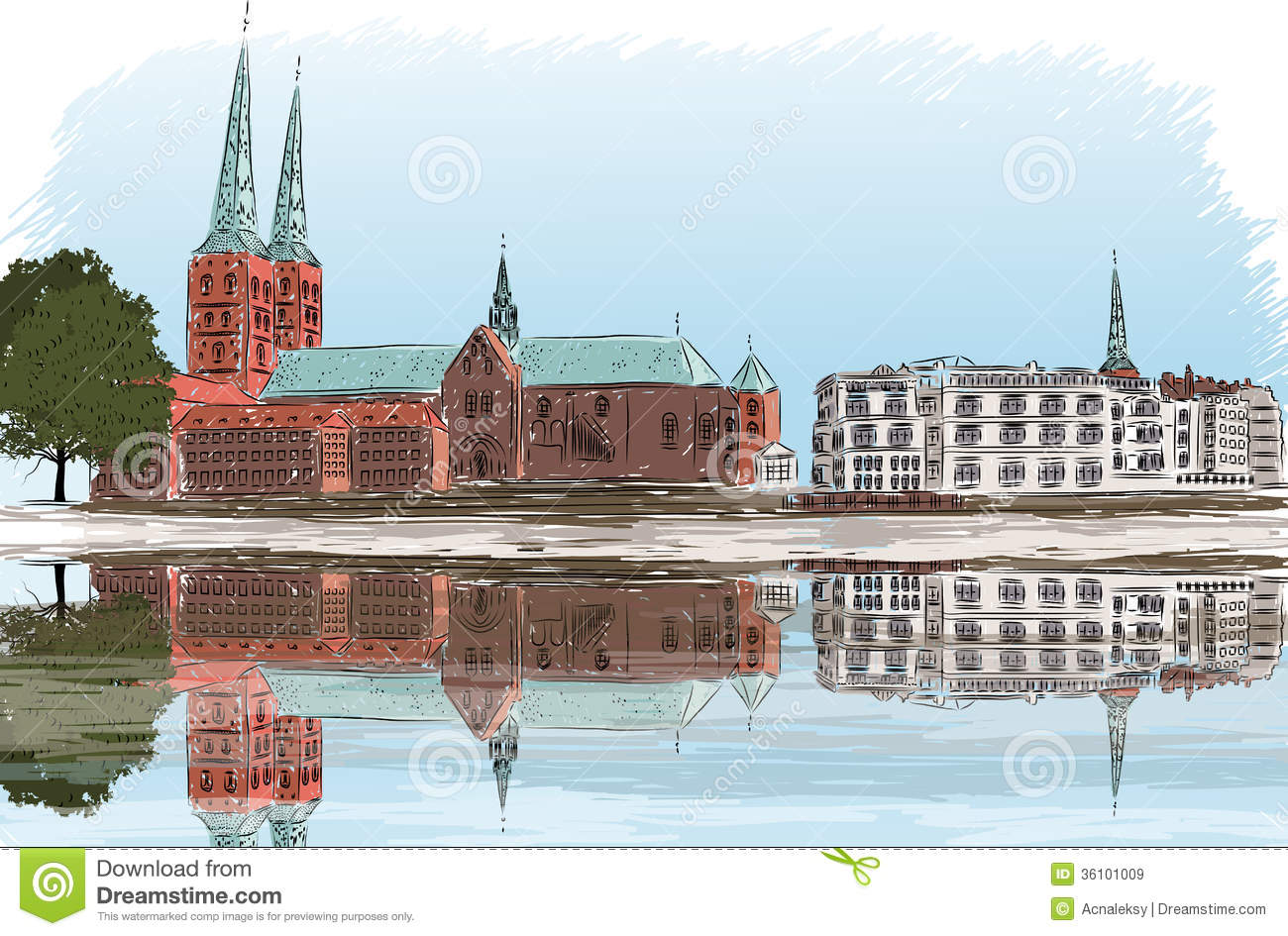 Ulicy Lubeck Stock Illustrations.