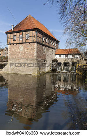 Stock Photography of Water mill, Ludinghausen, Munsterland, North.