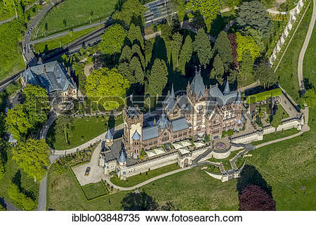 "Stock Image of ""Aerial view, Schloss Drachenburg Castle."