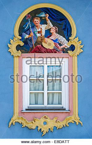 Germany, Bavaria, Mittenwald, Mural Painting On Buildings At Stock.