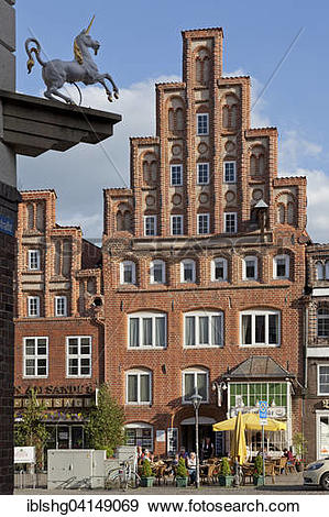 Stock Photograph of Old gabled house, Am Sande square, Luneburg.