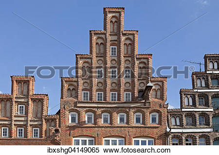 Stock Image of House gables, Am Sande square, Luneburg, Lower.