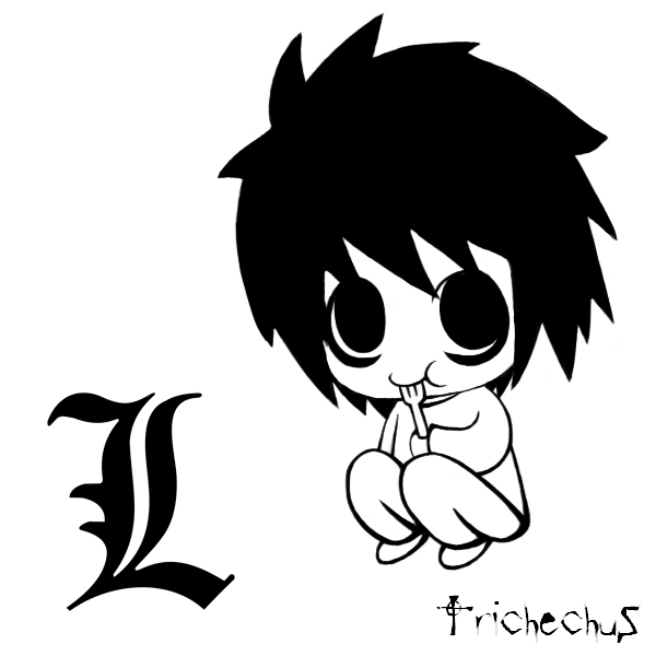 L Death Note Chibi Drawing How To Draw Chibi L From Death Note