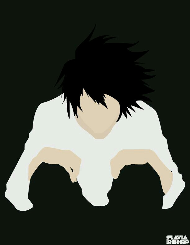 L (Death Note) Minimalista Wallpaper por greenmapple17.
