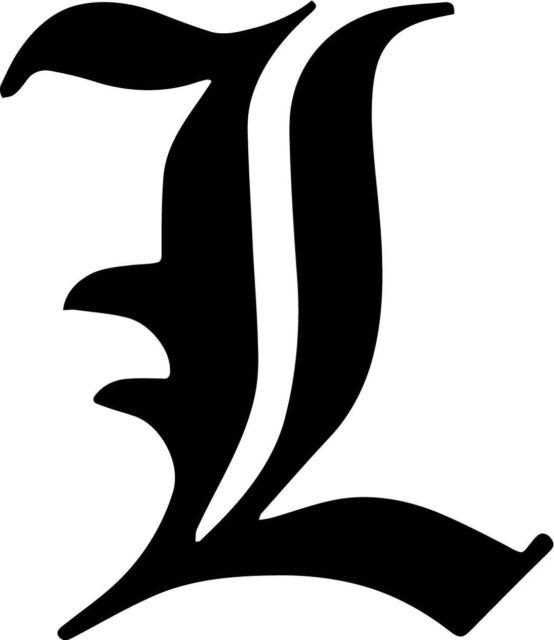 Death Note L Letter Vinyl Car Window Laptop Decal Sticker.